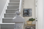 A painted gray staircase.