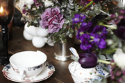 Fine china proudly serves tea and desserts