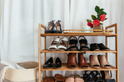 A detail of a wooden shoe rack,