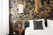 A black-and-gold wall mural