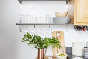 Open shelving put dishes and glasswear on display