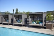 Contemporary cabanas by the rooftop pool at Napa Valley's Bardessono hotel
