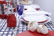 Red, white, and blue tableware on a graphic tablecloth with garlic heads