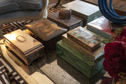 A collection of vintage boxes on a coffee table
