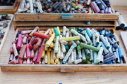 An artist's collection of pastels.