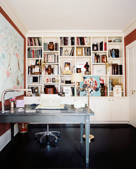20 Home Office Bookshelves Designs Ideas: Eclectic Traditional Work Space