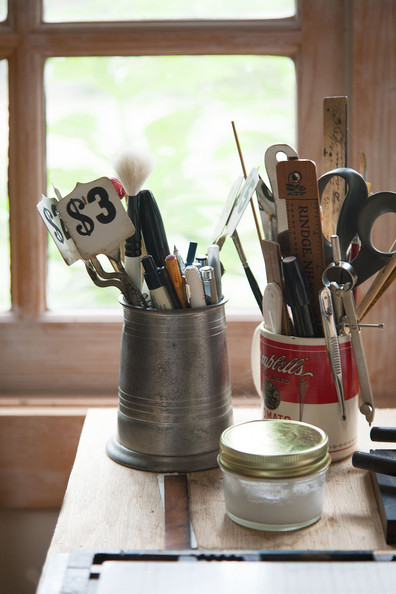 Artist Studio - Cups of tools and supplies