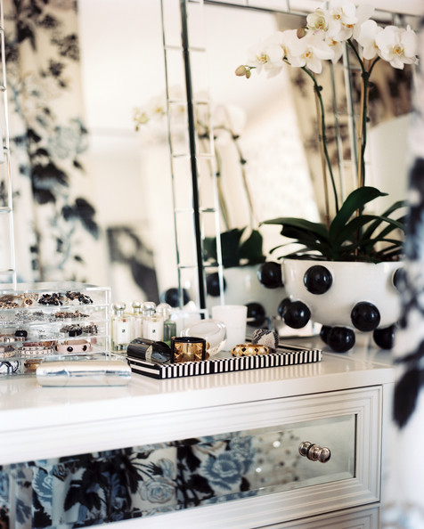 August 2012 Issue - A white dresser topped with a trio of mirrors