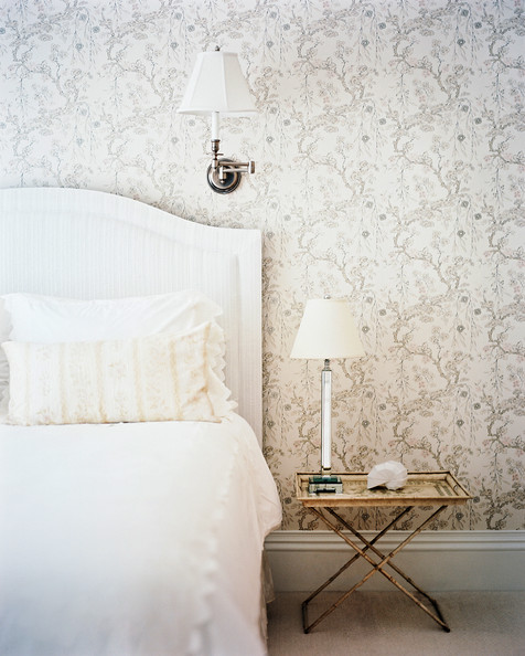 Wall treatment floral patterned wallpaper in a guest room details wall