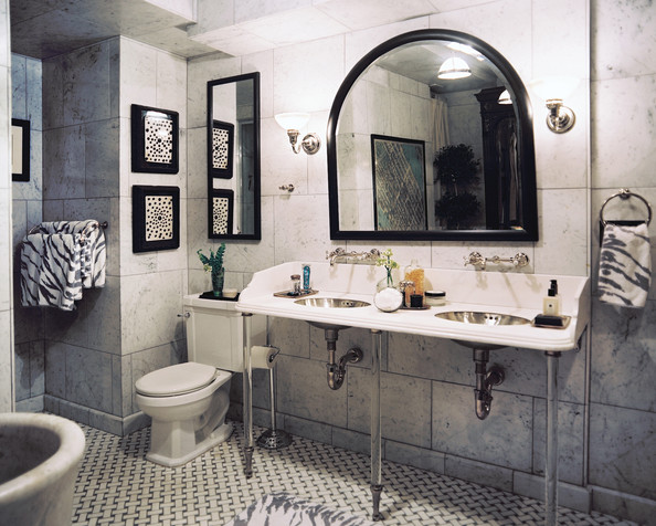 Gallery For Black And White Marble Tile Bathroom