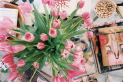 Coffee-table styling with books and flowers