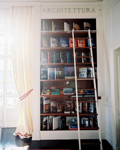 Bookcase Ladder - A built-in bookcase with a library ladder