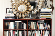 Two round mirrors above a bookcase and a zebra-hide rug