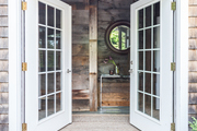 The rustic entrance to a barn.