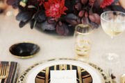 An elegant place setting for a holiday dinner party