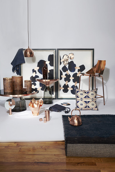 Modern decor home decor in a copper and navy color palette details