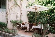 An outdoor dining space