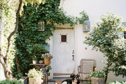 A vine-covered French-style home