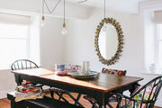 Colorful patterns in a traditional dining room