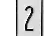 A black-and-white house aluminum number