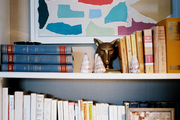 White shelves filled with books and decorative accessories