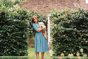 Cath Kidston with her Lakeland terrier, Stanley, outside her home in Chiswick, England