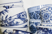 Blue-and-white bowls and mugs