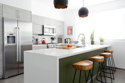 A contemporary kitchen with green and white accents.