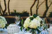 Hydrangeas decorate a Bastille Day dinner party in Charleston, South Carolina