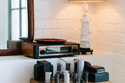 An old AM radio in a kitchen corner at the downtown loft of Hammer and Spear