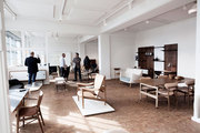 Danish Modern seating in the House of Finn Juhl showroom at Galleri Feldt, in Copenhagen