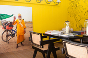 The yellow dining area of La Banane
