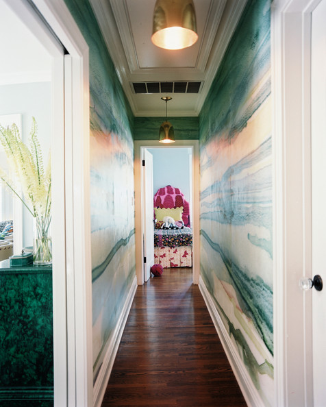 Hallway Green - Watercolor wallpaper in a hallway