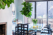 Glass dining room table with fiddle leaf fig and fireplace near.