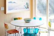 Contemporary dining area with blue, yellow, and orange accents.