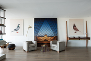 A pair of avian prints and a Ben Johnson painting titled Reflections on Past and Present, Paris