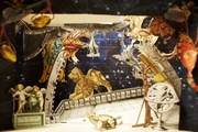 Paper replicas of Bergdorf Goodman's holiday window displays