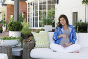 Tiffani Thiessen's outdoor living area is accented with wicker furniture