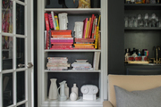 Built-in shelving with white framing.