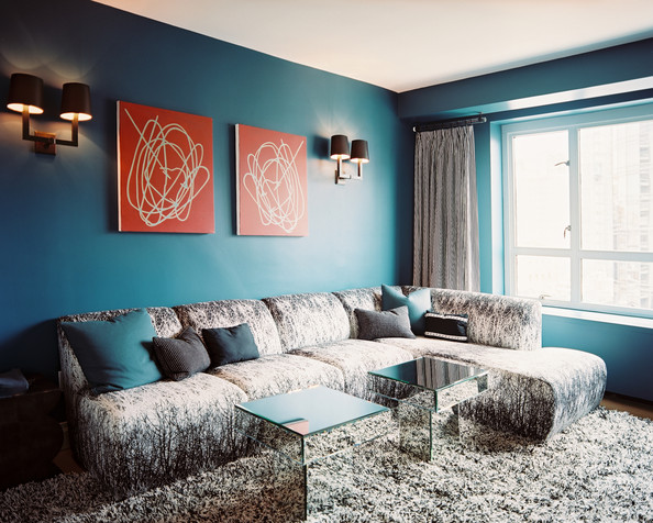 Interior Design Magazine Living Rooms With Blue Walls