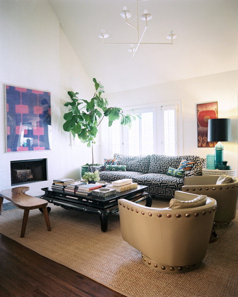 Living Room - A mix of colors and textures surrounding a black coffee table
