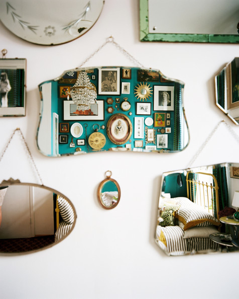 Mirror Gallery - A grouping of mirrors on a white wall