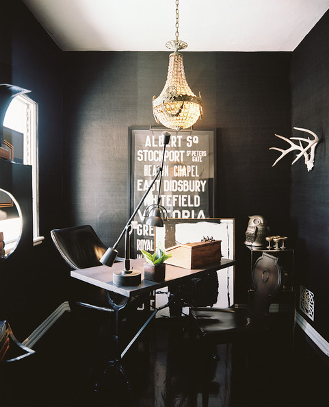 Black grass cloth wallpaper in an office details black traditional