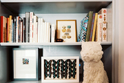 Built-in bookcases decorated with natural objects and a statue of a dog