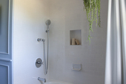 Hanging plant in white and blue built in shower stall.
