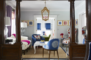 The colorful living room of a New Jersey Victorian by BHDM design.
