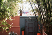 A gate surrounded by orange planters