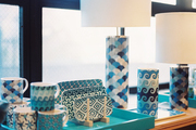 Blue-and-white mugs, trays, and lamps