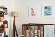 Cool tones and stripes in a nursery.