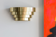 A detail of a mid-century modern brass light.